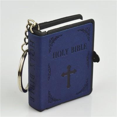 Mini Bible Blue Leather Keyring