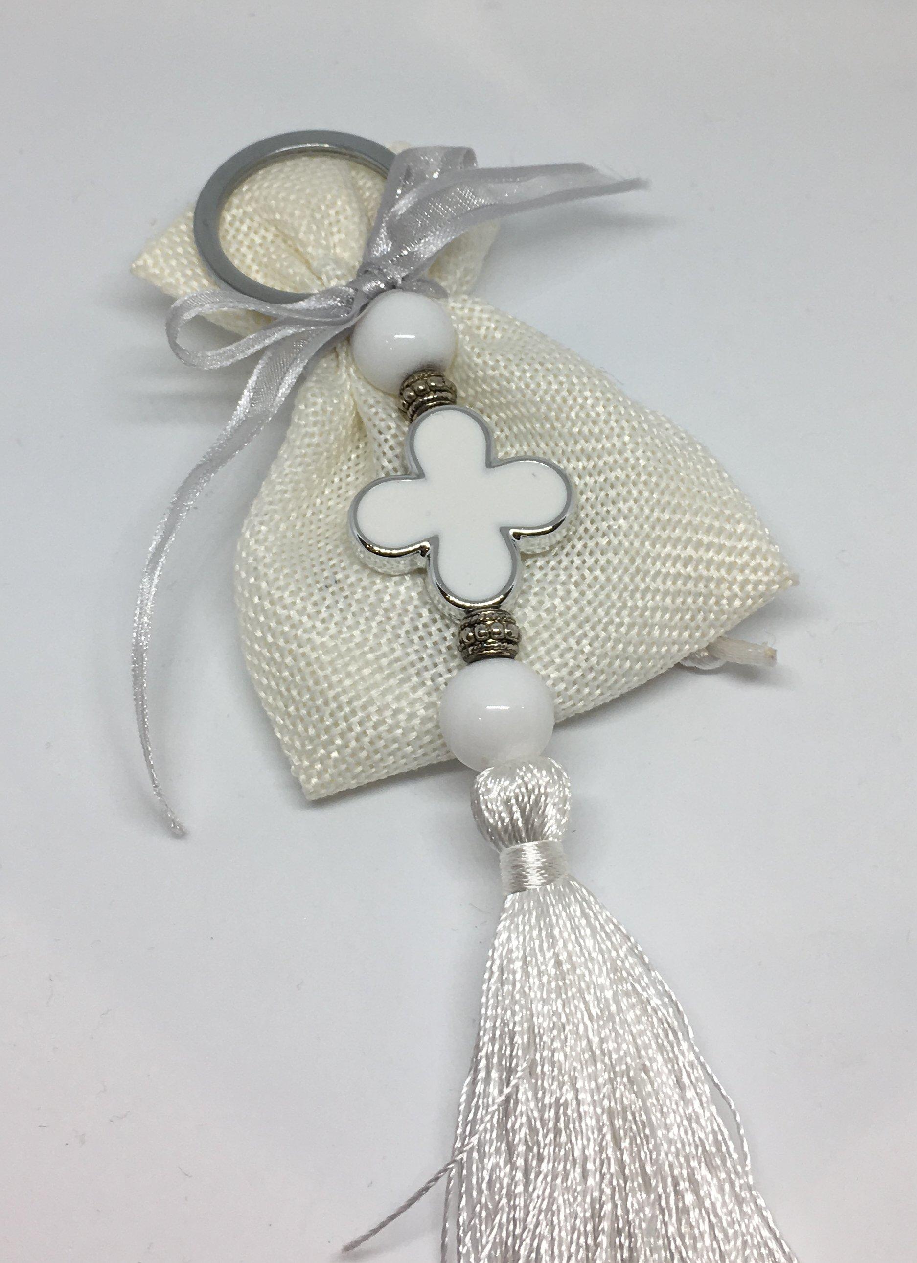 Keyring Pink White Blue Cross & Tassel on Linen Bag