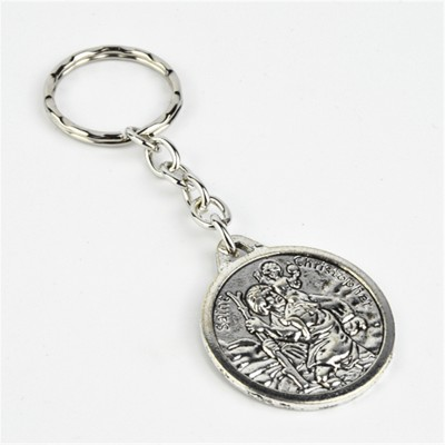 St Christopher Silver Round Keyring
