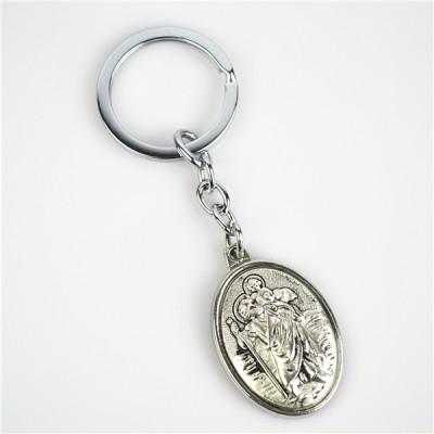 St Christopher Silver oval Keyring