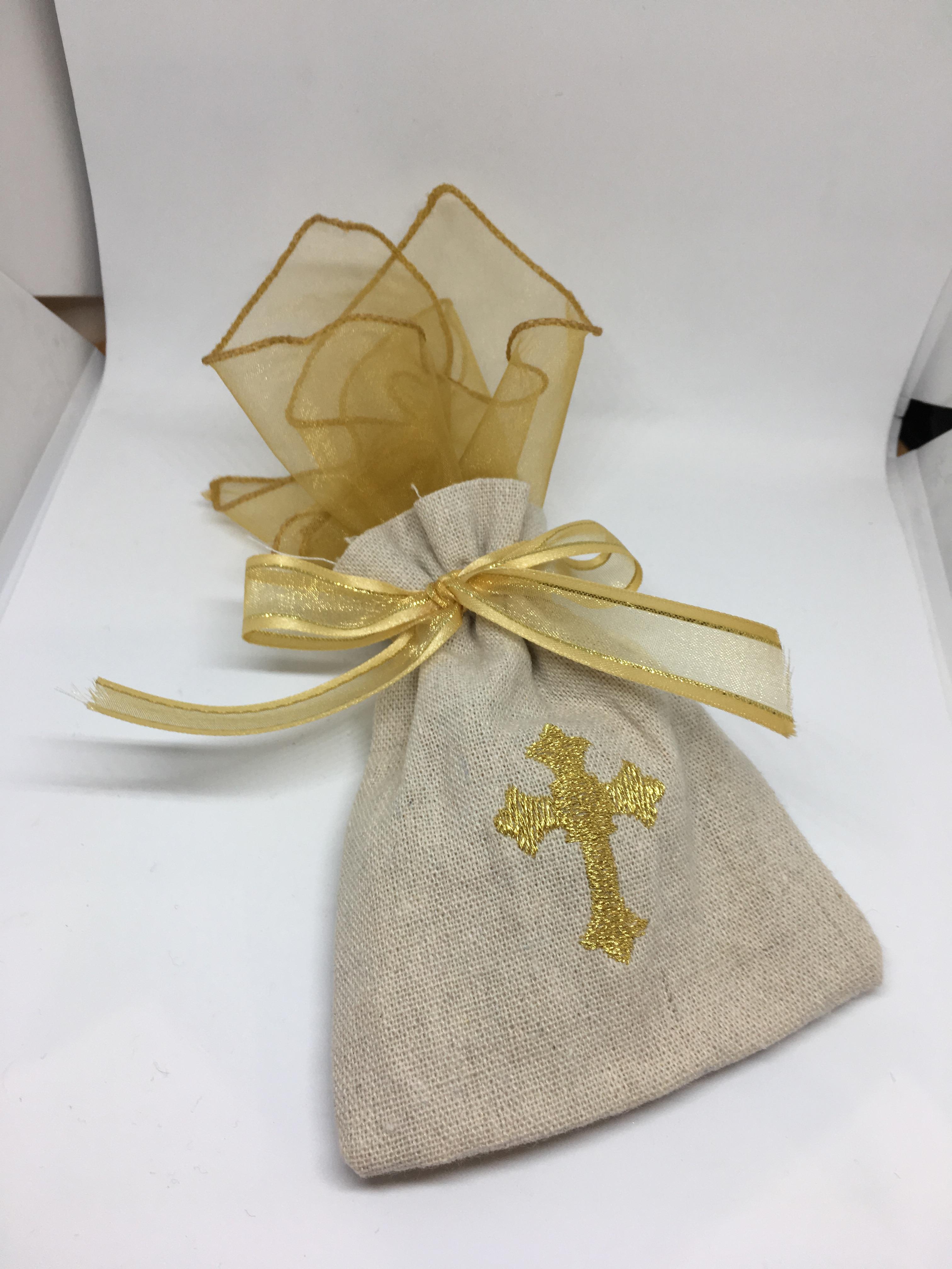 Raw Linen Gold Cross Bag