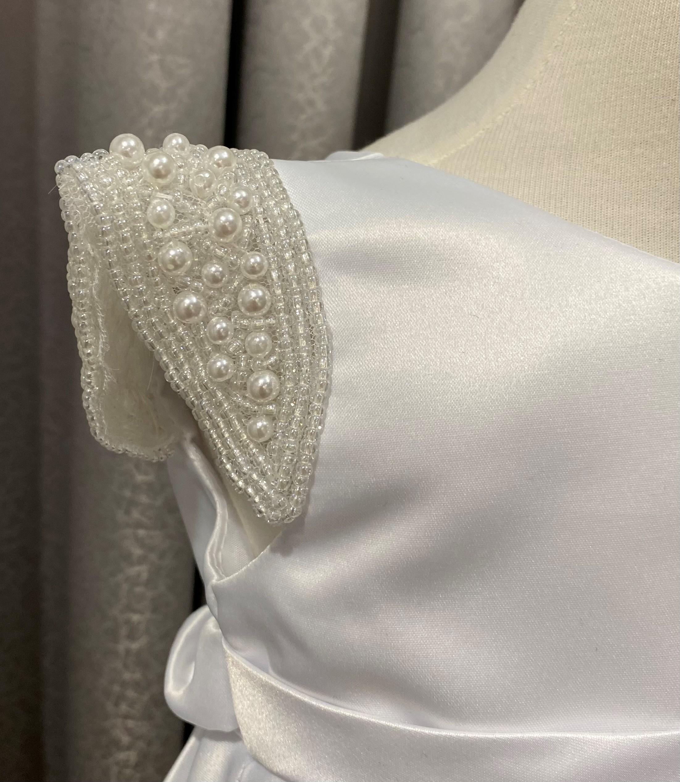 Satin Dress Beaded Sleeve White & Ivory EK a