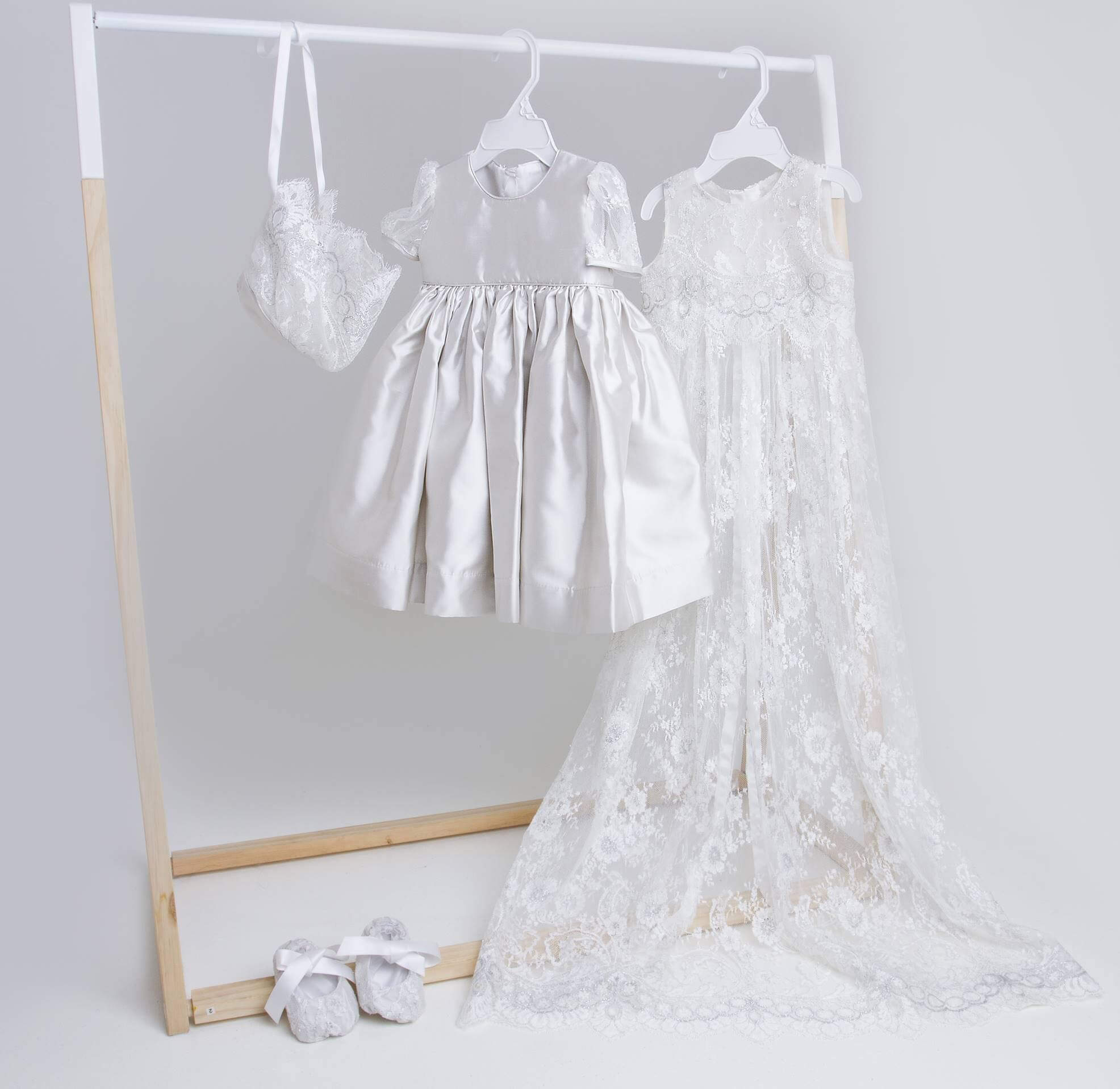 Silver Chantilly Flower Lace Pini and Silk Satin Dress