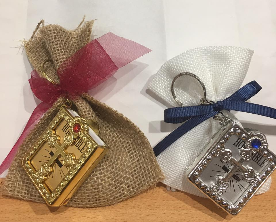 Silver & Gold Bible Keyring