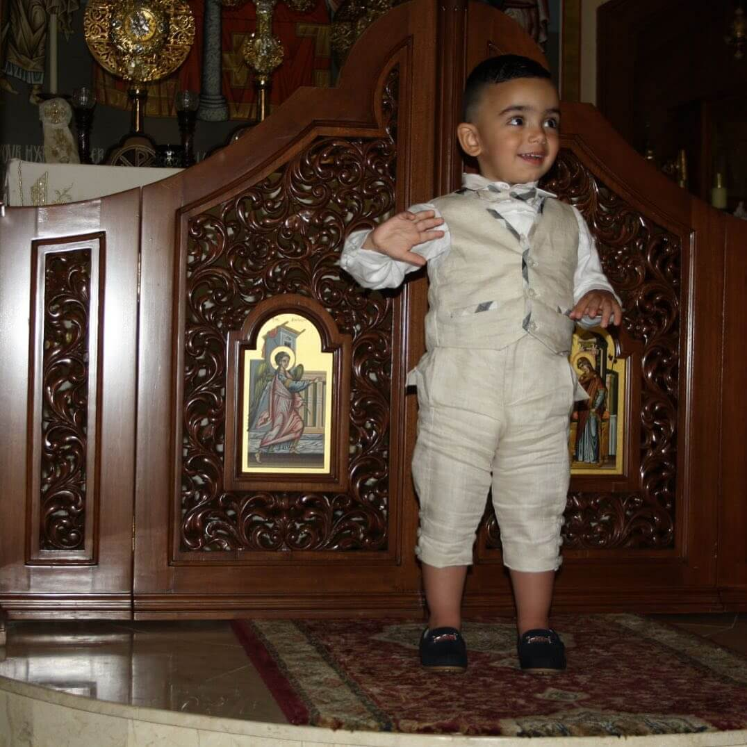 Taupe Linen Ankle Length School Boy Pants With Check Binding on Vest
