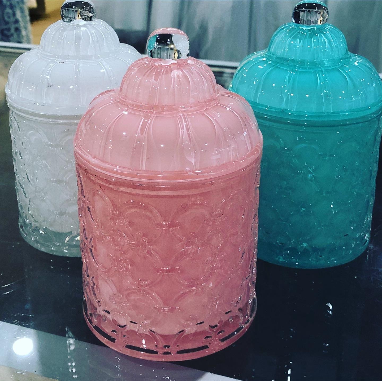 White, Teal & Pink Jar
