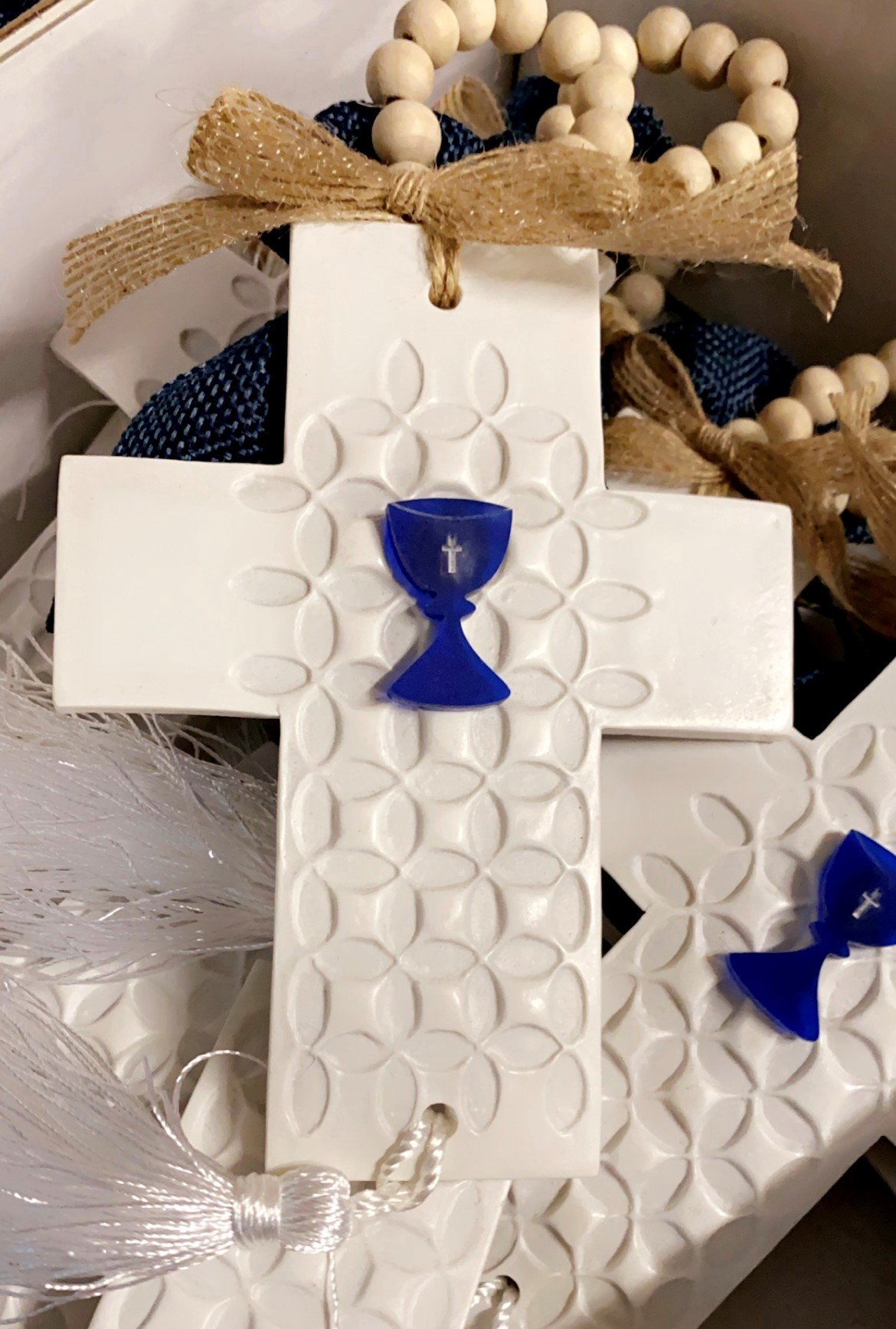 Large White Cross With Chalice