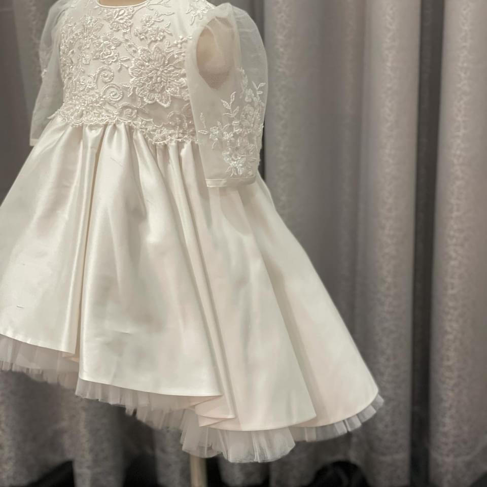 Stardust Lace High Low Raw Silk Dress 3
