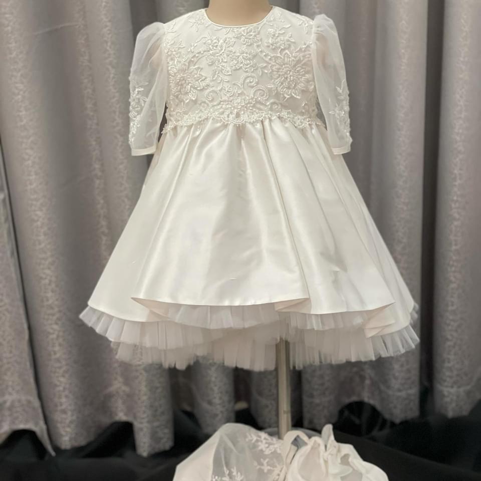 Stardust Lace High Low Raw Silk Dress