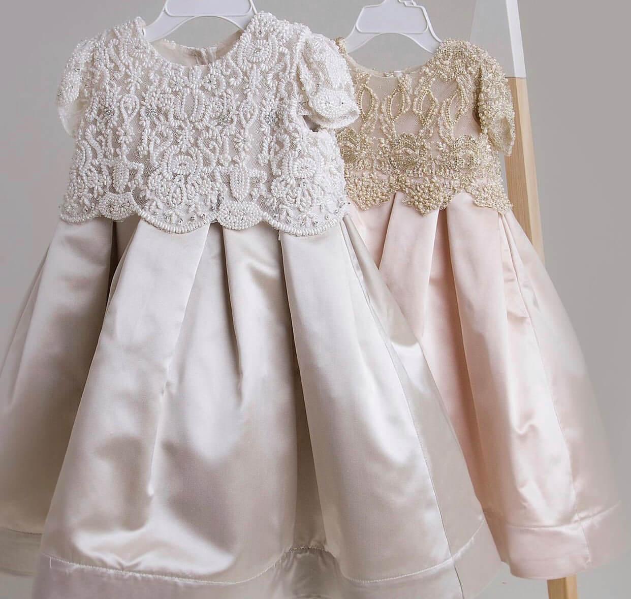 Box Pleat Silk Satin with Beaded top Dress PP
